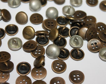 Assorted metal buttons, 10 mm metal buttons, old metal colors, shank, 4 hole tiny metal buttons, lot of 25, vintage look metal buttons