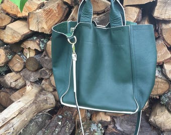 Green Leather Bag / Leather Handbags / Leather Top Handle Bag / Shoulder Bag / Leather Beach Bag / Green Leather Tote Bag / Green Purse Bag