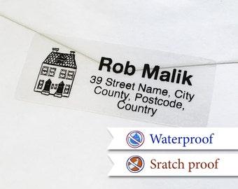 100 Custom Return Address Labels Personalized Transparent Address Stickers [01]