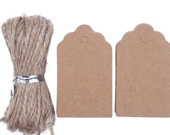 Labels hang tags price tags 3x5cm Brown 100 X (1088)