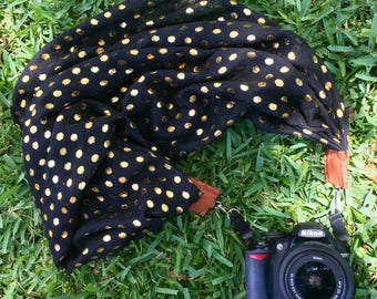 Polka Dot scarf camera strap > metallic gold on black || for Nikon, Canon, and DSLR photography