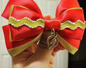 Super Hero Bow, Cosplay Bow, Flash Inspired, Comic Book Bow