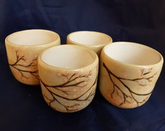 4 yunomi tea bowls hand painted with sakura branches, unique hand made ceramic
