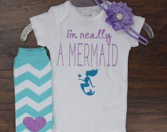 I'm Really A Mermaid Outfit || Birthday Girl || Mermaid || Toddler || Leg warmers || Headband