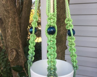 Lime Green-Dark Navy Ombre Macramé Plant Hanger with Blue Beads, Natural White Cotton Rope, Macrame Plant Hanger, Ombre Macrame, 39 inches