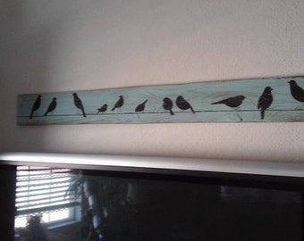 Bird on a wire, family, birds, wall art, wall decor, wood sign, primitive, farmhouse sign, nature, spring, rustic, home decor, wedding gift