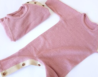 Hemp baby romper FREE SHIPPING, Organic baby romper, Knitted baby girl outfit, Spring baby wear