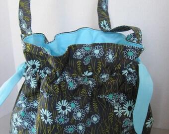 Handbag Purse Women Girls Accessories Fabric Handmade Navy Blue Floral Print with Aqua Trim, Draw-String Closure