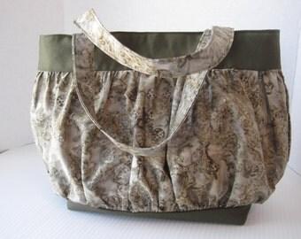 Handbag Purse Fabric Handmade Women's Accessories Sage Green Batik Print Poof Styling