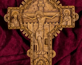 Romanian Orthodox Cross Aromatic Wall Crucifix made with pure beeswax mastic and incense