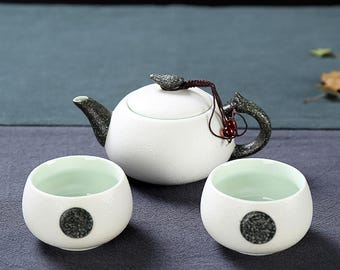 Chinese Porcelain Travel Tea Set 1 Teapot with 2 Tea Cups Good Tea Ceremony Gift, Free Shipping