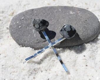 Snowflake Obsidian Hair Pins (quantity of 2)