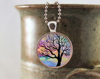 Tree Necklace, Painted Necklace, Tree Pendant, Tree Necklace, Fall Tree Necklace, Tree Jewelry, Silhouette Tree, Nature Necklace