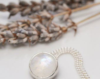 Moonstone and sterling silver pendant necklace