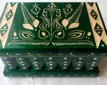 New big green wooden jewelry box magic box mystery box wooden puzzle box secret box tricky trinket box handcarved wooden box hidden drawer