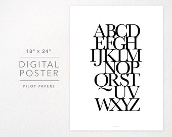 DIGITAL poster instant download - typography alphabet - 18x24 and 8x10