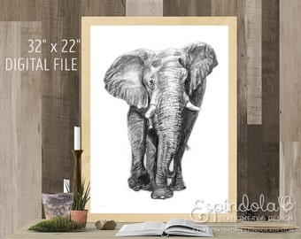"32"" x 22"" Digital Art Print | Elephant Illustration"