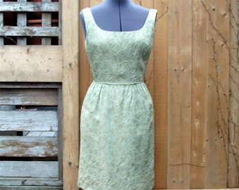 Vintage 1960's Olive Green / Taupe Lined Brocade Sheath / Wiggle Dress