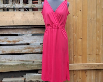 Vintage 1970's Red Sears Mock Wrap 100% Polyester Sleeveless Disco Dress Size Large