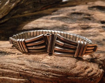 Vintage Native American Watch Tips Navajo Vintage Sterling Silver Watch Tips Sterling Watch Tips Heavy 12.6 Grams  Watch Tips Signed Band