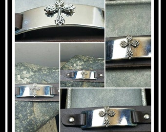 Cross Cuff Leather Bracelet/ Leather Cuff/Bracelet/ Gift