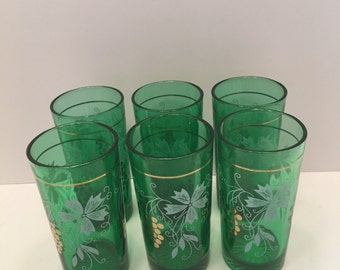 Green and Gold Drinking Glasses ~ Set of Six ~ Gold Grapes ~ White Floral Accents ~ Small Glass ~ Vintage