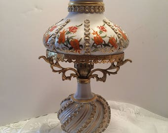 Lamp ~ Made in Turkey ~ Accent Lamp ~ Orange Green Gold Cream ~ Ornate Lamp ~ Victorian ~ Shabby Chic ~ Hollywood Retro~ Vintage
