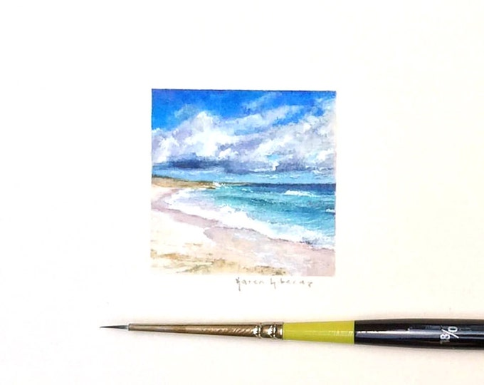 "Print of miniature painting of a Beach Scene. 1 1/4"" x 1 1/4"" print of original Beach Scene painting on german etching paper"