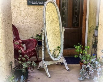 SOLD - Antique, Dressing Mirror, shabby chic, full length mirror, cheval mirror, distressed, white, mirror, floor length, standing, mirror