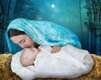 "Catholic Art, Virgin Mary with Child Jesus, religious art, 8x 10"" religious print, a perfect religious gift idea"