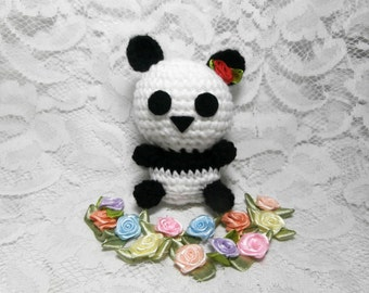 Crochet Panda - Amigurumi Stuffed Animal Miniature Bear Plushie - Rose Bowtie Handmade Birthday Christmas Stocking Filler Soft Toy Gift