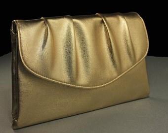 Avon Polished Gold Bag, Clutch, Evening Bag, Snap Closure, Metallic Gold Bag, Pleated Bag