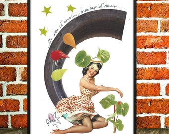 """Original collage poster collage, art and collections, love, minimalist art, pinup, gardening, """"A little love, love"""""""