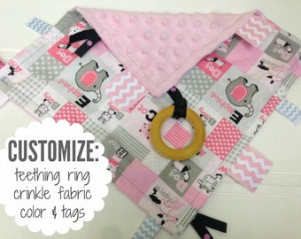 Baby Sensory Tag Blanket | Options: Natural Teething Ring, Crinkle Material, Color | Animal Alphabet in Pink