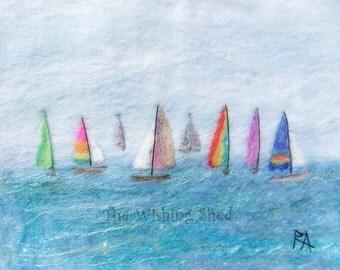 All The Pretty Boats - needle felt wardorlf Folk Art artwork - Print - Original painting sea seascape sailing picture whimsical art