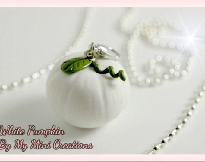 White Pumpkin Necklace, Miniature Food, Miniature Food Jewelry, Food Jewelry