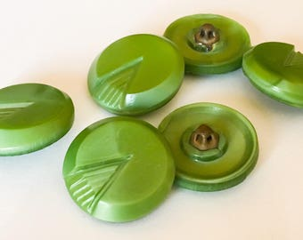 Green vintage glass buttons with box shank-6pc