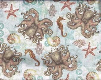 Nautical Seahorse Sea shell Octupus Curtain Valance