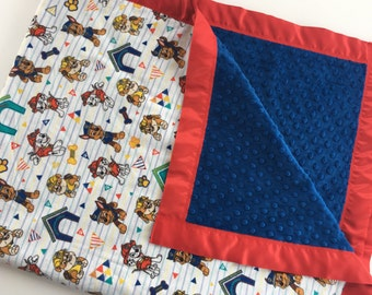 """Paw Patrol Flannel Fabric and Blue Minky Blanket With Red Satin Trim  42""""x54"""""""