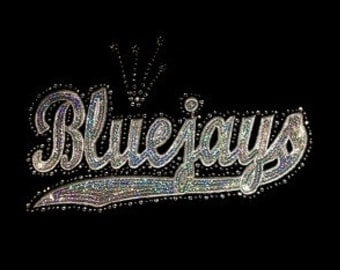 Bluejays - Silver - Mascots - Iron on Transfer - Sequin and Rhinestone - J8379