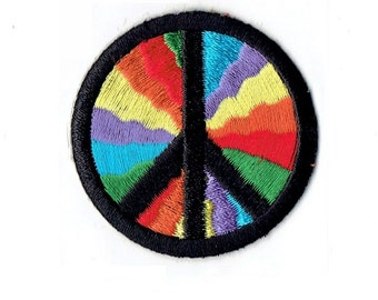 Peace Sign - Rainbow - Iron on Applique - Embroidered Patch - 683498-SA