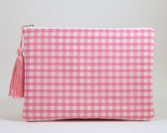 Gingham Clutch Bag Wristlet, pink gingham check zip pouch