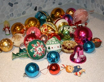HUGE set of Christmas ornaments glass ball ornaments