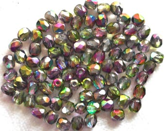 Lot of 50 4mm Silver Iris Rainbow Czech glass bead mix, firepolished faceted round beads C0601
