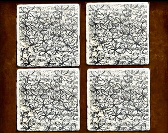 Stone Coasters, Script Coasters, Script Stamped Coasters, Script and Flower Coasters, French Script Stamped Coasters, Stone Drink Coasters