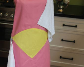 Baby shower gift! Handmade, one-of-a-kind, full-length, pink cotton maternity apron with 2 face washers, 1 yellow pocket & 2 cream buttons.