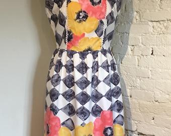 Vintage 1960s Harlequin & Flowers Cotton Summer Dress