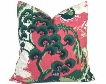 """Robert Allen Madcap Cottage Road to Canton Pink Green Chinoiserie Asian Pillow Cover, Fits 12x18 12x24 14x20 16x26 16"""" 18"""" 20"""" 22"""" 24"""" 26"""""""
