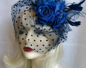 Vintage style all blue roses fascinator with veil