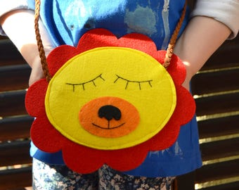 Toddler purse-Lion-yellow-red-Little Girls Purse-ready to ship-shoulder bag-girls accessory-Felt Kids Bag-Birthday Girl gift- In stock